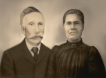 Anthime Boucher (1849-1911) et Vitaline Gagnon (1850-1938), date non précisée, coll. : Ernest Boucher et Blandine Mercier, infographie : Mathieu Boucher