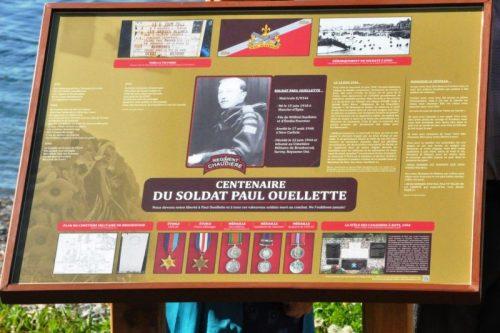 Panneau historique commémorant la mémoire du soldat Paul Ouellette, date : 1er juillet 2018, photo : Blandine Mercier