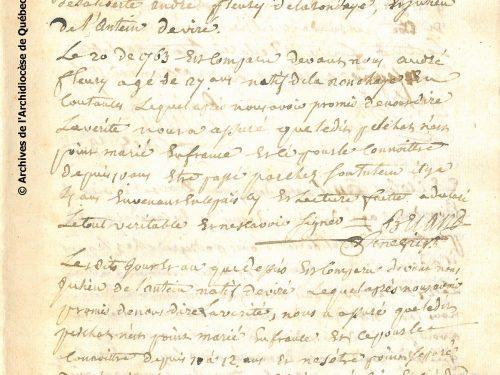 Manuscrit du témoignage de liberté au mariage de René Pelchat, date : 20 janvier 1763, source : Archives de l'Archidiocèse de Québec, AAQ, 94 CD, État de liberté au mariage, vol. 1: 271 ; mes remerciements à Pierre Lafontaine, archiviste diocésain. Voir la transcription à l'image suivante.
