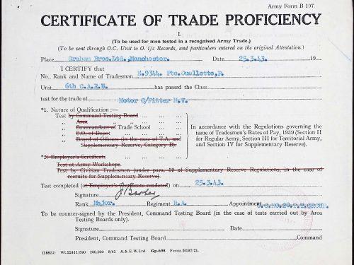Certificate of trade proficiency (certificat de compétence d'une école de métiers), date : 25 mars 1943, dossier militaire de Paul Ouellette, source : www.ancestry.ca