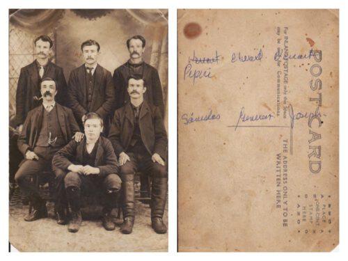 Les frères Fournier, 2e rang : Venant, Édouard et Napoléon; 1er rang : Joseph, son fils Généreux et Stanislas, photo date : vers 1910; coll. : Marguerite Boucher