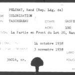 « Index des lettres patentes de terres post-confédération (1867-1960) » du canton Taschereau; source : BAnQ. À titre d'exemple la fiche de René Pelchat. Le 14 octobre 1938 correspond à la date de cession de la propriété aux représentants légaux de l'acquéreur primitif.