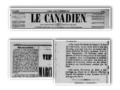 Le Canadien, Québec, lundi 16 décembre 1867, source : news.google.com
