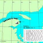 Carte des radars installés secrètement en Gaspésie pour détecter les sous-marins allemands, le no 4 à Manche-d'Épée, source : Bulletin d'histoire politique, vol 16, no 2
