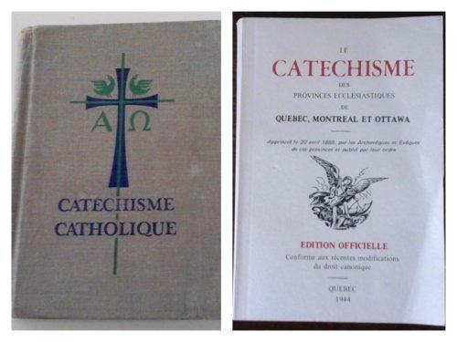 Catéchisme en deux éditions, à g manuel de l'élève de 3e à 6e années, date : années 1950-60, coll. : Louise Rouleau ; à d manuel pour l'enseignement en 1re et 2e année, date : 1950-60, coll. : Lauraine Bernier