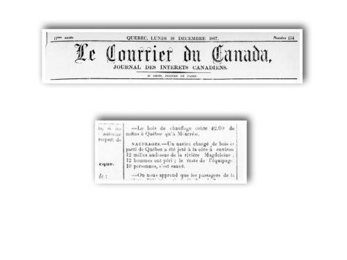 Le Courrier du Canada, Québec lundi 16 décembre 1867, source : news.google.com