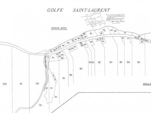 Plan du cadastre du village daté du 18 novembre 1958, source : « Registre foncier du Québec en ligne ».
