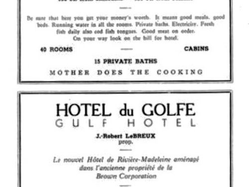 Page publicitaire de deux hôtels situés à Rivière-Madeleine dans le guide de l'Association des hôteliers de la Gaspésie vers 1950