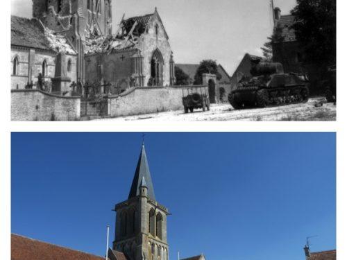 En haut, l'église de Rots touchée par des tirs allemands le 11 juin 1944 source : www.cocktail-culture-rots.fr/album ; en bas, l'église dans son état actuel, photo : Mathieu Boucher, date : 16 août 2016