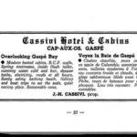 Publicité d'un hôtel de Cap-aux-Os propriété d'un Cassivi, sans doute parent avec Edwige du Café chez Roberte