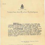 Lettre de l'inspecteur René Mercier qui prévoit la fermeture de l'école, date : 21 novembre 1963, coll. : Lauraine Bernier