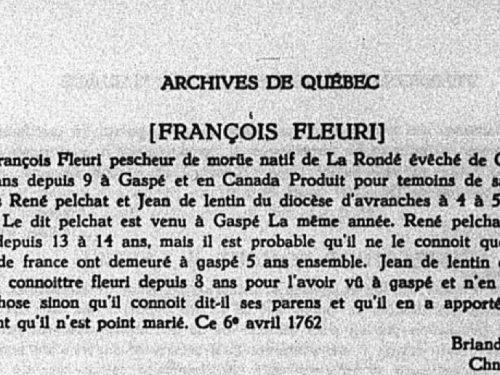 Témoignage de liberté au Mariage de François Fleuri, ami de René qui témoigne pour lui le 6 avril 1762, source : Le Rapport de l'Archiviste de la province de Québec 1951-1952, page 126.