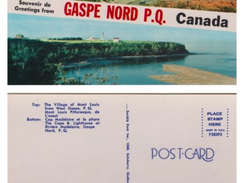 « Mont-Louis pittoresque de l'ouest & Cap Madeleine et le phare », coll. : Marie Fournier