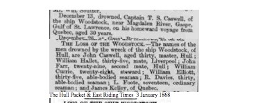 The Hull Packet & East Riding Times, vendredi 3 janvier 1868, source : British Newspaper Archive, collaboration Dave Wendes