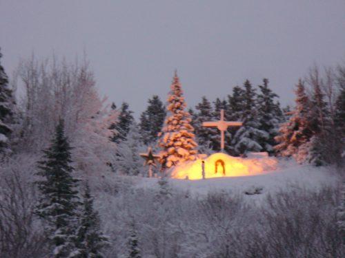 Le site de la croix à l'aube, date : janvier 2018, photo : Blandine Mercier.