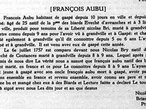 Témoignage de liberté au Mariage de François Aubu, le 6 juillet 1757, source : Le Rapport de l'Archiviste de la province de Québec 1951-1952, page 12.