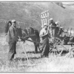 Récolte des foins par Israël et Joachim Fournier et les enfants, Aimé, Hélène, photo date : vers 1950; coll. : revue Gaspésie, juillet-septembre 1982