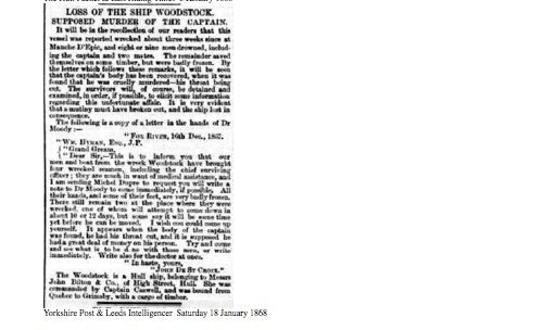 Yorkshire Post & Leeds Intelligencer, samedi 18 janvier 1868, source : British Newspaper Archive, collaboration Dave Wendes