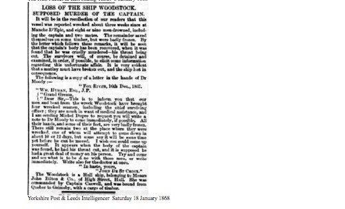 Yorkshire Post & Leeds Intelligencer, samedi 18 janvier 1868, source : British Newspaper Archive, collaboration Dave Wendes
