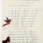 Des récompenses sous forme d'autocollants remises par ma première institutrice Laurette Henly dans mon cahier de devoir, date :1955, coll. : Bernard Boucher