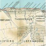 Péninsule de Gaspé (détail), date : 1940, source : ministère des Terres et Forêts, de la Chasse et de la Pêche. La partie isolée montre notamment les cantons Taschereau et Lefrançois; on peut y lire certains noms de lieux de Manche-d'Épée.