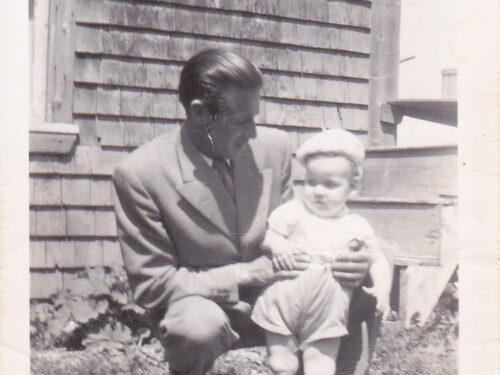 Paul-Émile Fournier et son fils Georges, photo date : 1954; coll. : Marguerite Boucher