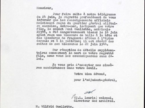 Lettre du 4 juillet 1944 confirmant le télégramme du 24 juin annonçant à Wilfrid Ouellette et à sa famille la mort de Paul, dossier militaire de Paul Ouellette, source : www.ancestry.ca