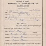 Bulletin scolaire de 1962-63 de Mariette Fournier, date 1963, coll. : Marie Fournier