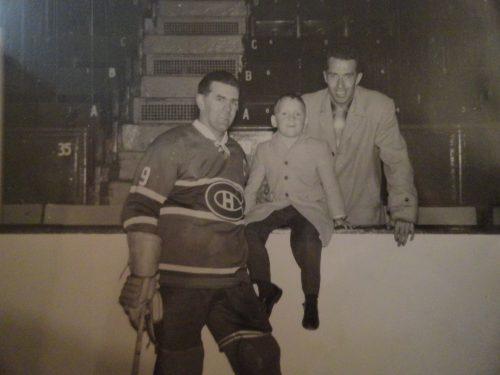 Maurice Richard, Jean et Roland Pelchat, date : printemps 1959, photo : Albert Pelchat, coll. : Jean Pelchat