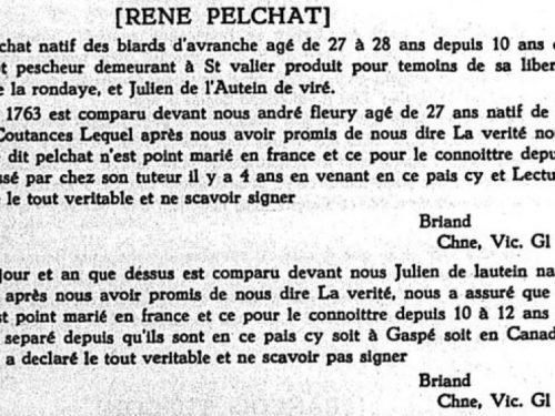 Transcription littérale du témoignage de liberté au mariage de René Pelchat, source : Le Rapport de l'Archiviste de la province de Québec 1951-1952, page 137.