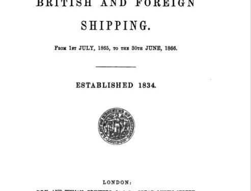 Registre de la compagnie d'assurance Lloyd's de Londres du 1er juillet 1865 au 30 juin 1866, source : Google livres, collaboration Dave Wendes