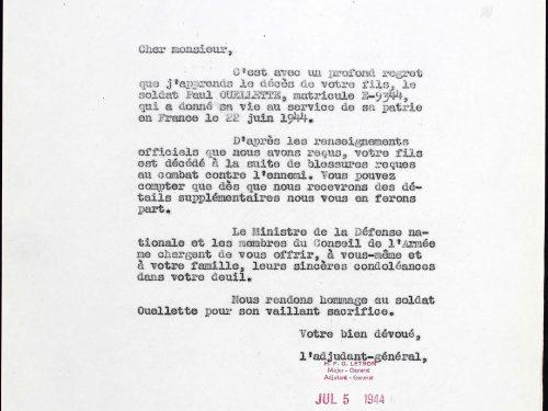 Lettre du 5 juillet 1944 transmettant à la famille Ouellette les condoléances des autorités, dossier militaire de Paul Ouellette, source : www.ancestry.ca