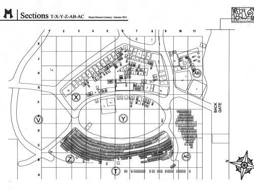 Plan du cimetière Mount Hermon de Québec, le capitaine Caswell est inhumé dans une fosse commune de la section Z, source : Mark Brennan, D.G.