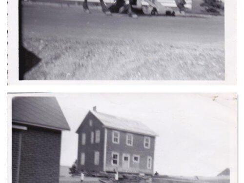 Déménagement de la maison d'Israël Fournier, photos date : 1956; coll. : Pierre-Paul Fournier. Le cheval est celui de Joachim Fournier