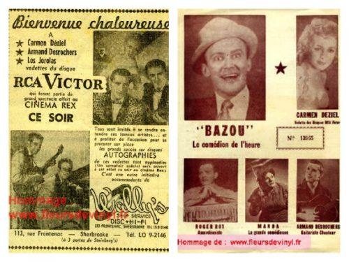Deux exemples d'affichettes de spectacles du burlesque comme ceux qui ont été présentés à Manche-d'Épée