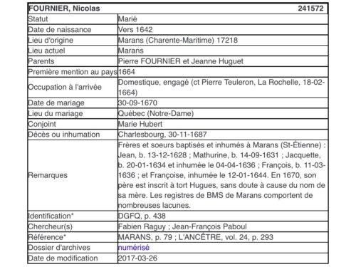 Fichier Origine de l'ancêtre Nicolas Fournier selon les données établies par le généalogiste Marcel Fournier