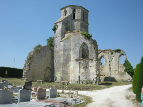 Ruines de l'église Saint-Étienne de Marans, paroisse d'origine de Nicolas Fournier, photo : Bernard Boucher; date : 30 juin 2018