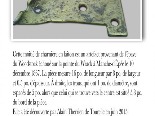 Artefact tiré de l'épave du Woodstock, collaboration Alain Therrien pour la description et Steven Guillerm pour l'identification de la pièce.