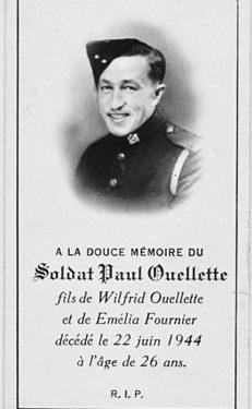 Carte funéraire de Paul Ouellette, coll. : Marie Fournier