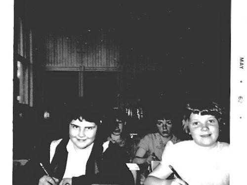 En avant : de g à d, Roberte Boucher et Nicole Fournier, en arrière : Georgette Déry et la regrettée Paulette Blanchette, date 1962, coll. : Lauraine Bernier