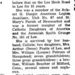 Nécrologie de Georgiana Boucher mariée à Calixte Baillargeon, source : archives de la ville de Newmarket