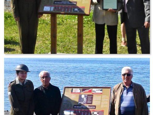 Remise du Certificat de reconnaissance de la municipalité de Sainte-Madeleine de la Rivière-Madeleine à Paulo Boucher (en haut) et à Ernest Boucher et Jocelyn Boucher (en bas), date : 1er juillet 2018, photo : Blandine Mercier