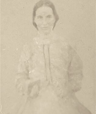 Marie Boucher (1835-1870), date non précisée, coll. : Mario Lévesque, infographie : Mathieu Boucher (sans doute la plus vieille photo sur le site)