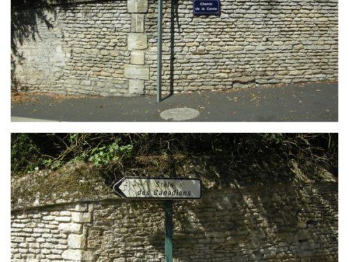 Signalisation pour se rendre à la Stèle des Canadiens, chemin de la Cavée à Rots, date : 16 août 2016, photo B.Boucher