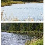 Premier lac de Manche-d'Épée, (en haut) côté est; (en bas) côté ouest, date : 2009, photo : Blandine Mercier