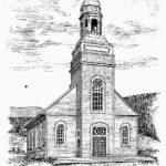 Croquis de l'église de Mont-Louis inaugurée en 1896, date : 1906, source : Le Saint-Laurent : historique, légendaire et topographique de Alphonse Leclair, p. 269.