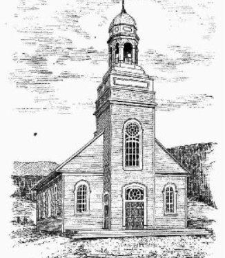 Croquis de l'église de Mont-Louis construite une bois en 1895; elle avait 68 pi. de long à l'intérieur par 44 pi. de large à l'extérieur, date : 1906, source : Le Saint-Laurent : historique, légendaire et topographique de Alphonse Leclair, p. 269.