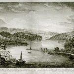 Illustration montrant l'établissement de Révol dans la baie de Gaspé à l'arrivée de René Pelchat en 1752, source : site Migrations.