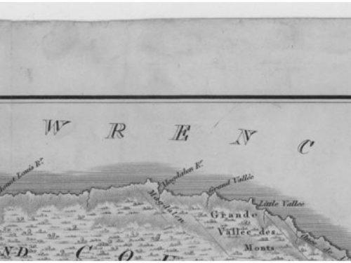 Plan of the district of Gaspé (détail) by Joseph Bouchette, date : 1815, coll. : BAnQ. La partie isolée présente les lieux identifiés à cette date sur la côte nord de la péninsule.