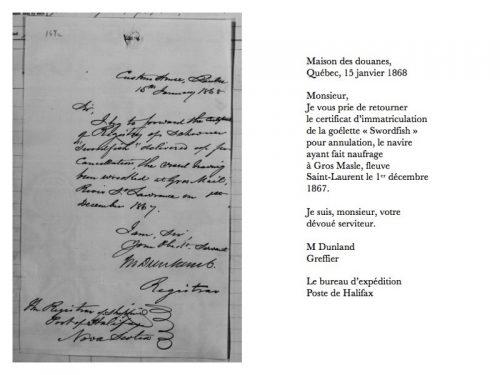 Lettre du 15 janvier 1868 déposée dans la page de gauche du certificat d'enregistrement du Sworfish réclamant son annulation (libre traduction)